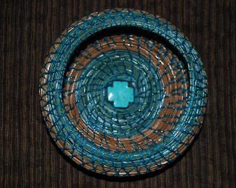 """Pine Needle Basket """"Turquoise Cross"""""""