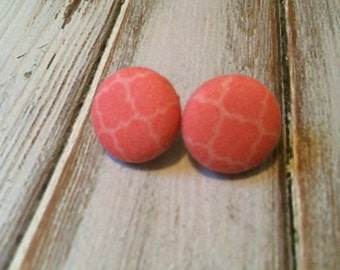 Coral Button Earrings - Fabric Button Post Earrings