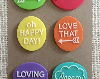 Refrigerator magnets - magnet collection - hippie magnets - colorful magnets - teacher gift - office accessories