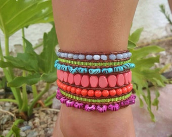 Neon Cuff anklet extra wide Cuff Anklet boho hippie anklet