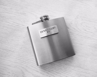 Personalised hip flask - hip flask personalised - stainless steel flask - personalized hip flask - personalized flask -birthday gift for him