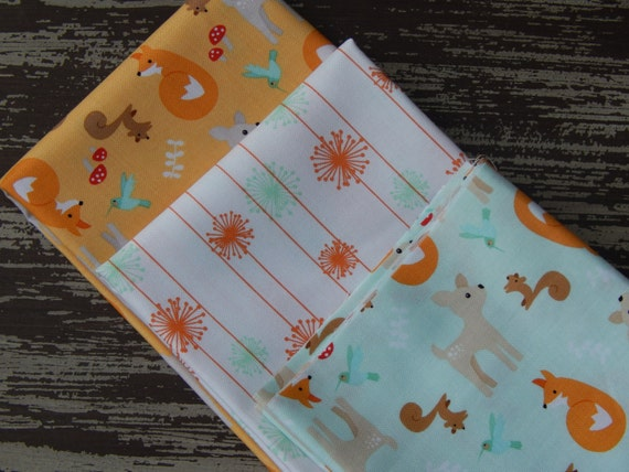 Woodland fabric forest animals childrens fabric good for Childrens fabric bundles