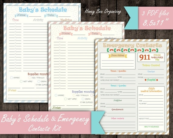 Baby's Schedule Kit Emergency Contacts List Baby Daily