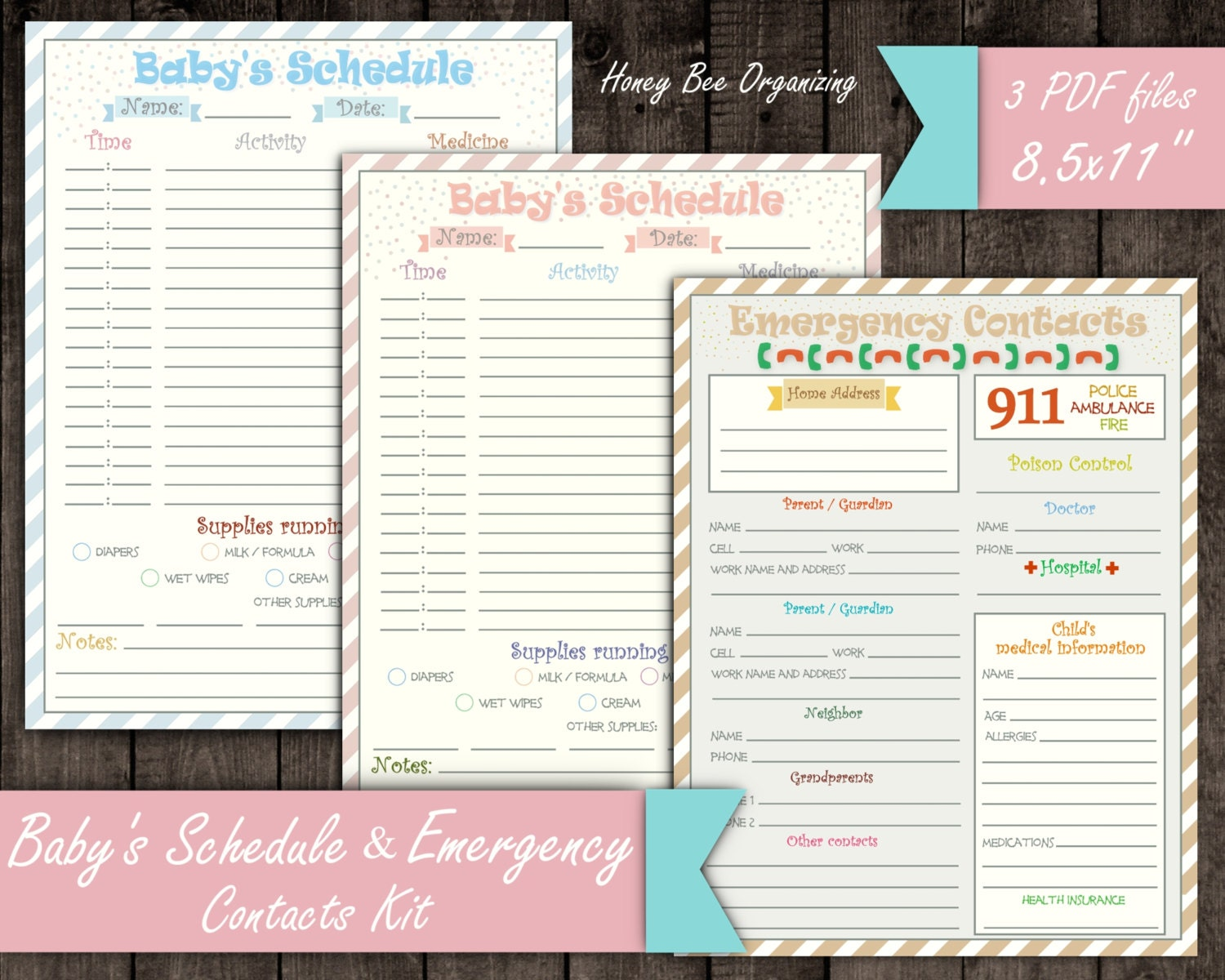 Baby 39 s schedule kit emergency contacts list baby daily for Baby routine template