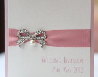Ivory & Pink Vintage Pearl Bow Wedding Invitation