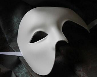 White Half Face Phantom Masquerade Mask