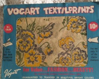 Vintage Vogart Textilprints floral transfer pattern yellow blue green