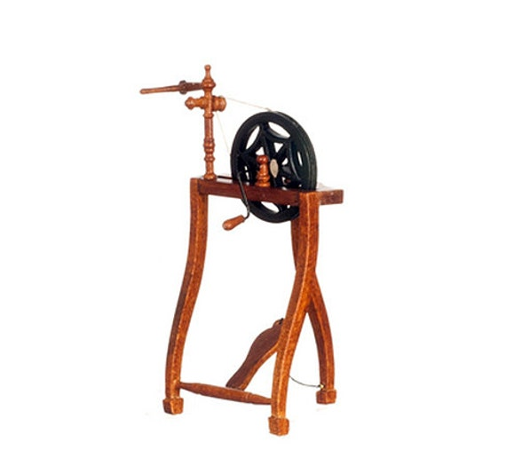 1 12 Scale Miniature Walnut Three Legged Spinning Wheel