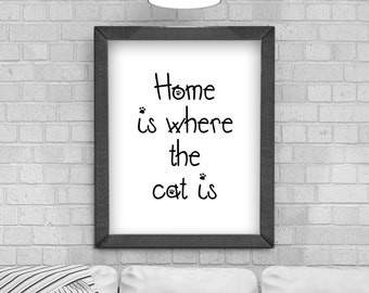 Digital Download 'Home is where the cat is' Typography Poster, Printable Art, Instant Download, Wall Prints, Digital Art, typography quote,