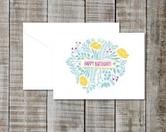 Greeting Card Happy Birthday - Blank