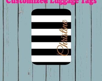 Black and White print  Monogram Luggage Tag - Luggage Tag Monogrammed