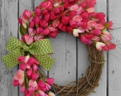 SUMMER SALE Spring Wreath - Summer Wreath - Pink Tulip Wreath - Front Door Wreath - Front Door Decoration - Mothers Day Gift  - Home Decor -