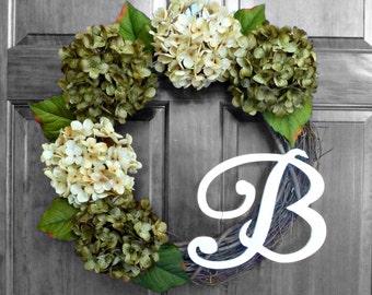 Wreaths for Front Door, Front Door Wreaths with Initial, Spring Wreath, Initial Door Wreaths, Monogram Wreath