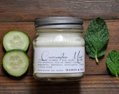 Cucumber Mint - Mason Jar Soy Candle - cucumber, peppermint, spearmint, eucalyptus, lemon, orange, jasmine, ylang