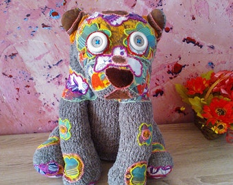 Hand knitted dog toy - soft toy, plush toy ,stuffed toy, home decor