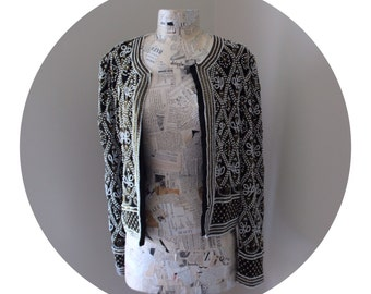 Black with Gold Trim Beaded Pearl Jacket