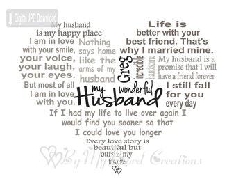 Husband Art, Husband Heart Word Art, Gift for Husband, Husband Keepsake Art, Personalized Word Art Typography, PRINTABLE DIGITAL FILE