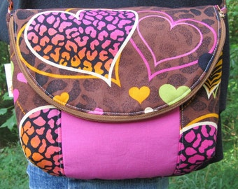 READY to SHIP *** Small/Medium Manhattan Bag-Purse-Cross Body-Adjustable Strap-Bright and Colorful Hearts on Brown