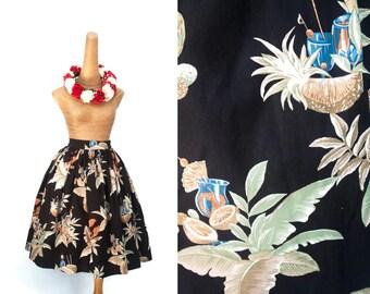 """Lola Skirt """"Hawaiian Lobster Season"""" in a Hawaiian Tiki Lobster Print"""