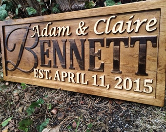 Personalized Wedding Gift Family Name Signs Carved Custom Wooden Sign Last Name Established Anniversary Custom Personalized Sign Couple Gift