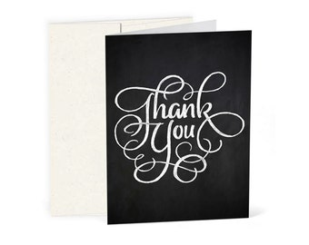 Hand-Drawn Chalk Thank You Cards - Calligraphic Design (10 Cards + Envelopes)