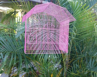 Upcycled bird cage, hot pink, pick up only