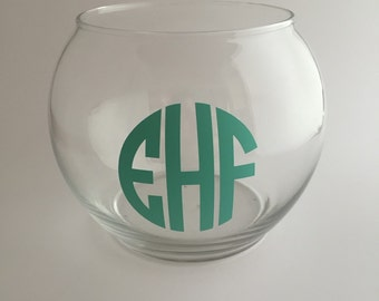 Glass Monogram Personalized Small Round Vase