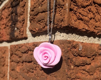 Polymer Clay Rose Pendant