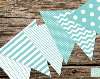 Printable Assorted Pennant Flag Banner: Turquoise (Instant Digital Download)
