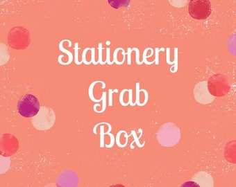 Stationery grab box, grab bag, stationery, planner nerd, snail mail, craft supplies, washi tape, page flags, pens, surprise, stationary