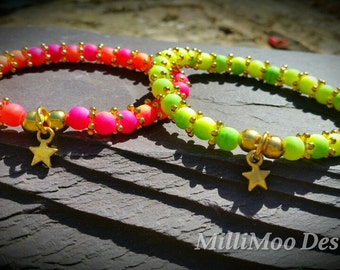 CLEARANCE ... Pretty Summer Duo Coloured Neon Bead Bracelets with Gold Plated Spacer Beads and Star Charm
