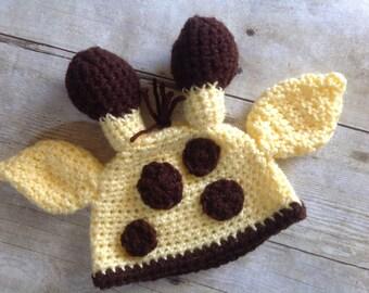 Newborn Giraffe Hat, Baby Giraffe Hat, Baby Crochet Hat, Newborn Crochet Hat, Giraffe Crochet Hat, Giraffe Photo Prop, Newborn Photo Prop