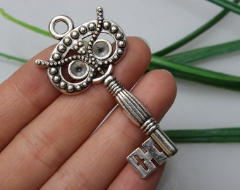 Own Charm ~30*60mm Antique Silver Owl Key Pendants Charms