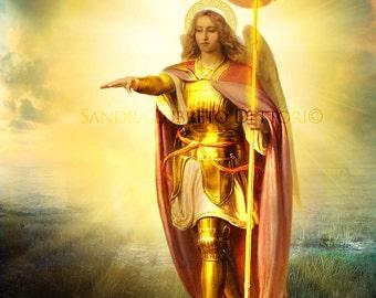 "St. Michael Archangel, Catholic Art, 8x10"" Art Print, wall decor  by Sandra Lubreto Dettori"