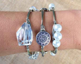 The Classic Stack in Silver, Set of 3 Silver Wire Wrapped Beaded Bangle Bauble Bracelets including a Coin, Pearl, & Clear Bangle