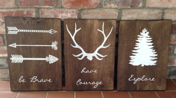 Be Brave Have Courage Explore Set Of 3 Signs Woodland