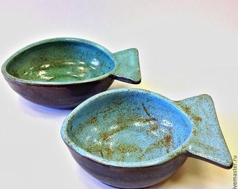 Ceramic set of two fish bowls, Fish dish, Pottery,  Blue, Turguoise, Kitchen  decor, Bowls for food, Made to order