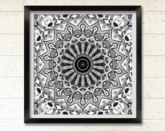 Black and White Mandala, Printable Art, Geometric Digital Print, Wall Decor, Meditation Art, New Age Art Print, Australia, Mandala Art