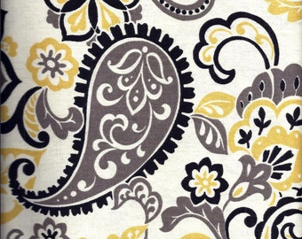 Black Yellow Paisley Curtain Valance