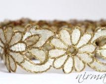 Gold Flower cut work Bollywood inspired trim lace Traditional Sari Indian Craft Ribbon Sewing Wedding sash supply metallic lace trim AN0088