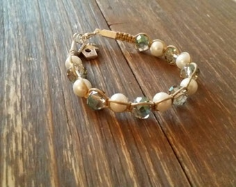 Sparkly and Pearl beads wrapped in natural cotton string