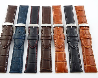 Genuine Leather Mock Croc Watch Strap Band Mens Crocodile Padded SS Buckle include free spring bar fitting tool