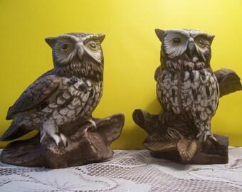 Pair of HOMCO Owl Figurines