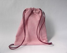 Child/small drawstring backpack bag - made in a raspberry and white stripe cotton fabric