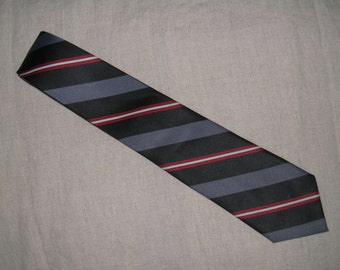1950s Vintage Black, Gray,Red and White Striped Necktie