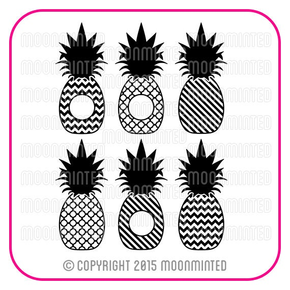 Pineapple Monogram Frames Svg Cut Files For Vinyl Cutters