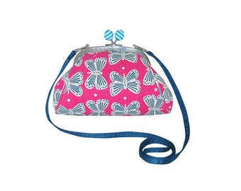 Fair Trade Butterfly Print Cross Body Purse Bag - Grey and Pink