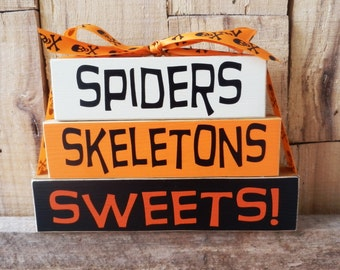 Spiders Skeletons Sweets, Halloween Blocks, Wood Blocks, Wood Sign, Halloween Decoration, Small Block Set, Trick or Treat, Sweets