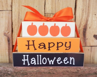 Happy Halloween, Halloween Blocks, Wood Blocks, Wood Sign, Halloween Decoration, Small Block Set, Halloween Pumpkins