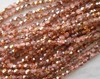 50 3mm Apollo Gold Czech glass beads, crystal and gold firepolished, faceted round beads, C8450
